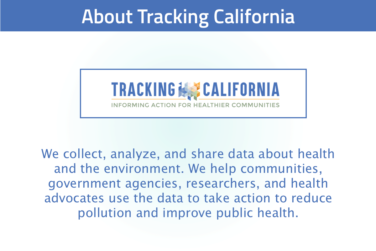 New user tour slide 2: Tracking California is a program that collects data and makes it usable to the people of California
