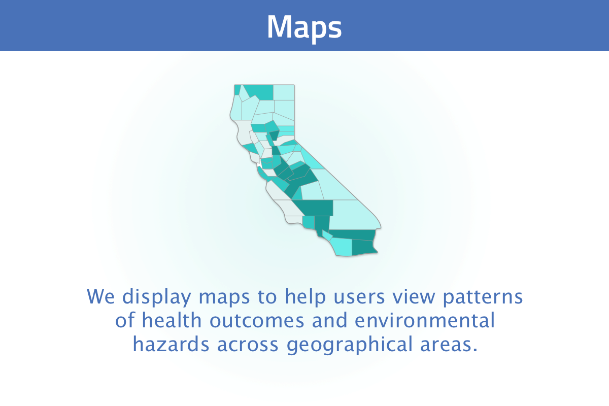 New user tour slide 5: we display data in maps to show how rates of health outcomes and environmental hazards change across space